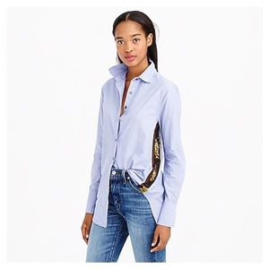 J. Crew Women's Chambray Button Down with Sequins